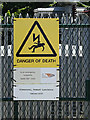 TM0385 : Kenninghall Primary Electricity Sub Station sign by Adrian Cable