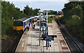 SD3517 : Passengers at Meols Cop Station boarding the 16:05 train to Wigan, Bolton and Manchester by Ian Greig