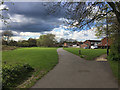 SP2866 : Path ahead through Canalside open space, Woodloes Park, Warwick by Robin Stott