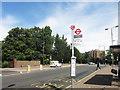 TQ2374 : Bus Stop at The Green Man, Putney Heath by Des Blenkinsopp