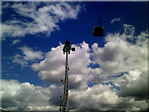 TQ3979 : Looking up at the Emirates Air Line cable car ride by Peter S