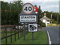 TL9573 : Stanton Village Name sign on the A143 Bury Road by Geographer