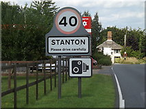 TL9573 : Stanton Village Name sign on the A143 Bury Road by Adrian Cable