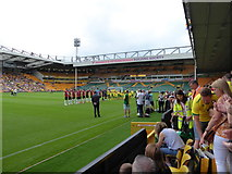 TG2407 : Pre-match greetings at Carrow Road by Basher Eyre