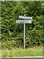 TL9775 : Roadsign on Market Weston Road by Geographer