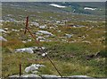 NG1197 : Old fence posts on the western slopes of Beinn nan Leac, Harris by Claire Pegrum