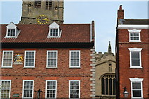 SK7953 : Detail of buildings in the Market Place, Newark on Trent by David Martin