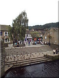 SD9927 : Ducks on the river side, Hebden Bridge by Malc McDonald