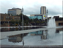 SE1632 : Water feature in Bradford city centre by Malc McDonald