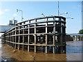SE7624 : Upstream pier, Goole Bridge by Christine Johnstone