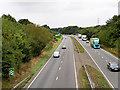 SP8764 : A45 (south) from Earls Barton Road by David Dixon