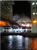 TQ3780 : The south portal of Canary Wharf DLR station at night by Rod Allday
