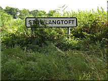 TL9467 : Stowlangtoft Village Name sign on Bull Road by Adrian Cable
