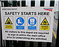 SO5140 : Safety notice at the entrance to the Network Rail Hereford depot by Jaggery