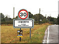 TL9369 : Ixworth Village Name sign on Bury Road by Adrian Cable