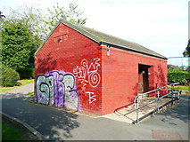 SE2837 : Decorated public convenience in Meanwood Park, Leeds by Humphrey Bolton