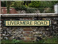 TL8972 : Livermere Road sign by Adrian Cable