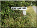 TL9669 : Stowlangtoft Village Name sign on Kiln Lane by Adrian Cable