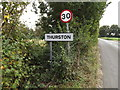 TL9165 : Thurston Village Name sign on Ixworth Road by Adrian Cable