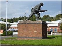 SJ8748 : Festival Heights: John Baskeyfield memorial statue by Jonathan Hutchins