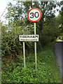 TM1388 : Tibenham Village Name sign on Pristow Green Lane by Adrian Cable