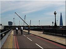 TQ3180 : Cycle superhighway, Blackfriars Bridge ramp by Stephen Craven