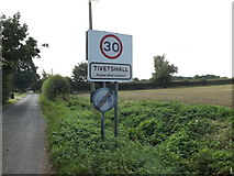 TM1686 : Tivetshall Village Name sign on Green Lane by Adrian Cable