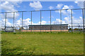 SP3677 : South side of the Alan Higgs Centre across a football pitch, southeast Coventry by Robin Stott