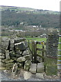 SE0225 : Footpath gate on Hebden Royd FP57 on the north side of Scout Road, Mytholmroyd by Humphrey Bolton