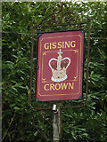 TM1485 : The Gissing Crown Public House sign by Adrian Cable