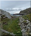 NG1087 : Fence and dyke above coastline near Cuidhtinis, Harris by Claire Pegrum