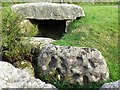 SW4324 : Replica cup-marked rock, Tregiffian Burial Chamber by Andrew Curtis