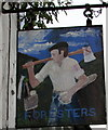 SH7401 : Southeast side of the Dyfi Forester Inn name sign, Machynlleth by Jaggery