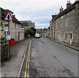 SO8700 : Warning sign - minor road junction ahead, Tetbury Street, Minchinhampton by Jaggery