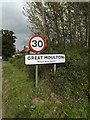 TM1588 : Great Moulton Village Name sign on Moulton Road by Adrian Cable