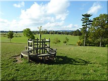 SO8845 : Seat at the entrance to Croome Park by Philip Halling