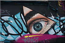 TQ3382 : View of street art on the old Shoreditch tube station building from Pedley Street #3 by Robert Lamb