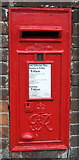 TM0595 : Close up, George VI postbox on Station Road, Attleborough by JThomas