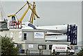 J3677 : Wind turbine blades, Belfast harbour (October 2016) by Albert Bridge
