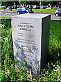 NY3959 : Memorial marker stone for Kingstown Airfield by Rose and Trev Clough