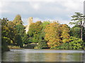 ST6416 : Old Sherborne Castle and autumn trees seen across lake by David Hawgood