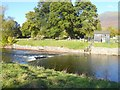 NY2523 : Weir and gauging station on the River Derwent by Oliver Dixon