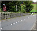SH7400 : Warning sign - roundabout, Heol Pentrerhedyn, Machynlleth by Jaggery