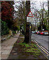 SO9321 : Warning sign - cycle route ahead, Queen's Road, Cheltenham by Jaggery