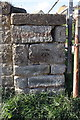 SY4491 : Benchmark on wall pier at entrance to Eype Mouth carpark by Roger Templeman