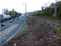 NS3074 : Road and rail at Port Glasgow by Thomas Nugent