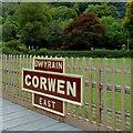 SJ0843 : Station sign at Corwen East in Denbighshire by Roger  Kidd