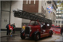 TQ3281 : View of a 1937 Leyland Turntable Ladder Pump in the Lord Mayor's Parade from Gresham Street by Robert Lamb