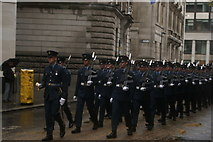 TQ3281 : View of soldiers in the Lord Mayor's Parade from Gresham Street #3 by Robert Lamb