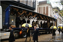 TQ3281 : View of a lorry with clocks on it in the Lord Mayor's Parade on Gresham Street by Robert Lamb
